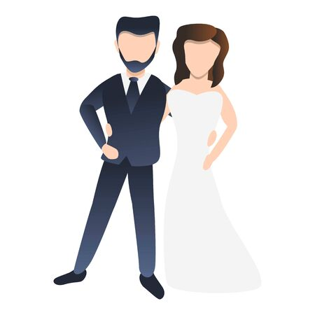 Modern bride couple icon. Cartoon of modern bride couple vector icon for web design isolated on white background