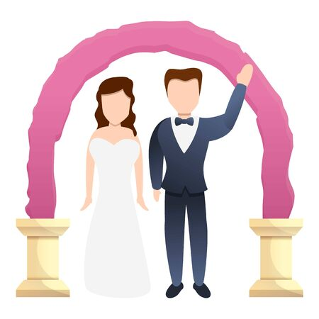 Couple bride on arch icon. Cartoon of couple bride on arch vector icon for web design isolated on white background