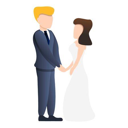 Happy bride couple icon. Cartoon of happy bride couple vector icon for web design isolated on white background