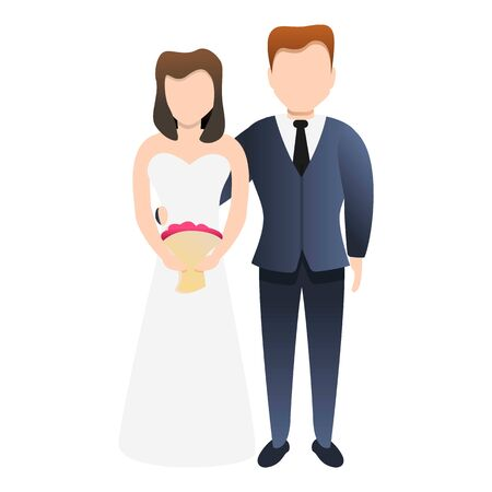 Bride new family icon. Cartoon of bride new family vector icon for web design isolated on white background 일러스트