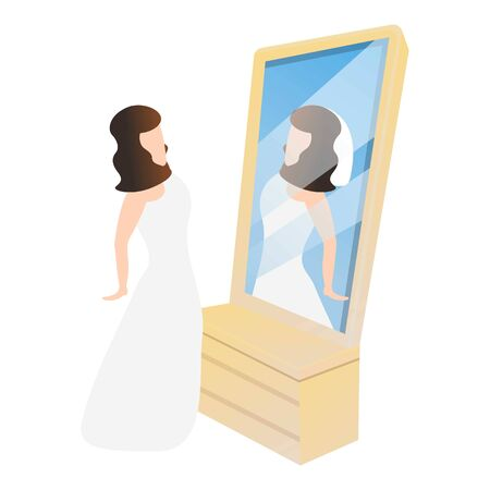 Bride in mirror icon. Cartoon of bride in mirror vector icon for web design isolated on white background