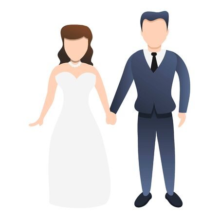 Young bride couple icon. Cartoon of young bride couple vector icon for web design isolated on white background