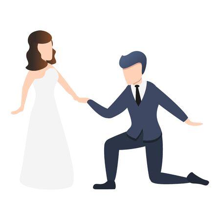 Husband take bride hand icon. Cartoon of husband take bride hand vector icon for web design isolated on white background