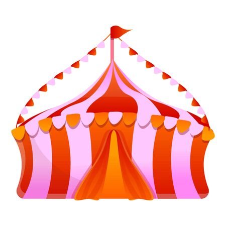 Circus tent icon. Cartoon of circus tent vector icon for web design isolated on white background 免版税图像 - 133432382