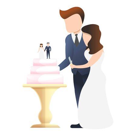 Couple cut wedding cake icon. Cartoon of couple cut wedding cake vector icon for web design isolated on white background