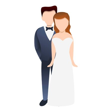 Bride couple icon. Cartoon of bride couple vector icon for web design isolated on white background