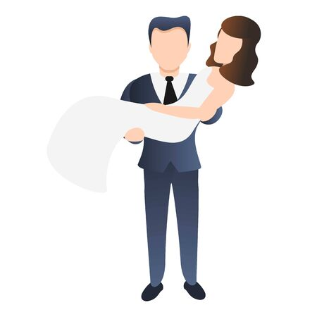 Husband catch bride icon. Cartoon of husband catch bride vector icon for web design isolated on white background