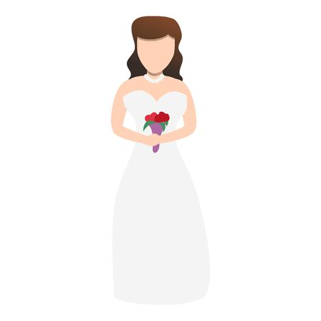 Beautiful bride icon. Cartoon of beautiful bride vector icon for web design isolated on white background