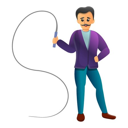 Trainer with whip icon. Cartoon of trainer with whip vector icon for web design isolated on white background