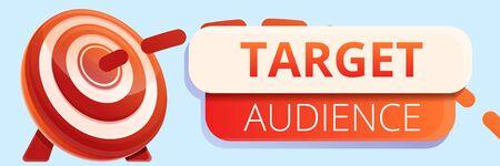 Target audience concept banner. Cartoon illustration of target audience vector concept banner for web design