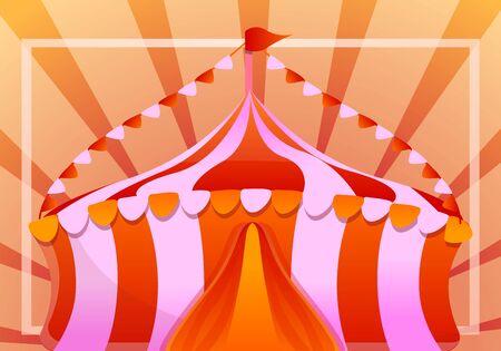 Colorful tent concept banner. Cartoon illustration of colorful tent vector concept banner for web design Illusztráció