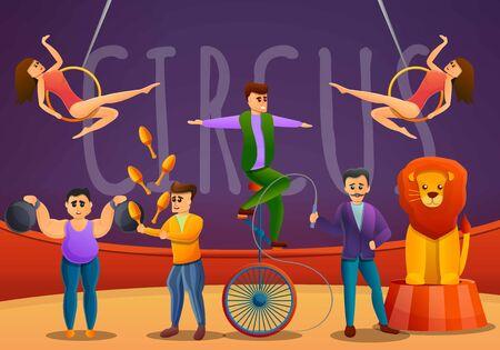Jongleurs concept banner. Cartoon illustration of jongleurs vector concept banner for web design