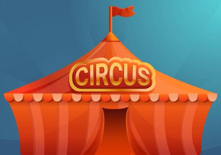 Circus on blue background concept banner. Cartoon illustration of circus on blue background vector concept banner for web design