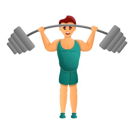 Athlete with barbell icon. Cartoon of athlete with barbell vector icon for web design isolated on white background Archivio Fotografico - 133432500