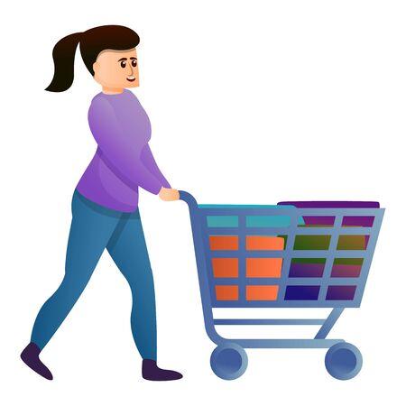 Woman shopping cart icon. Cartoon of woman shopping cart vector icon for web design isolated on white background