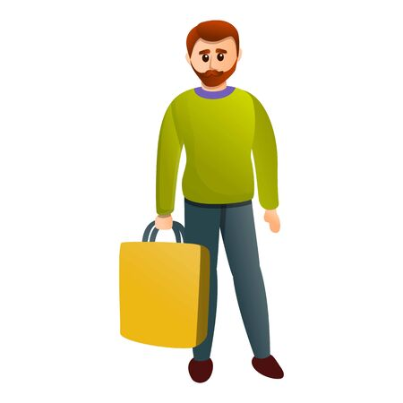 Man shop bag icon. Cartoon of man shop bag vector icon for web design isolated on white background