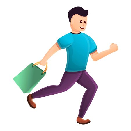 Running boy after shopping icon. Cartoon of running boy after shopping vector icon for web design isolated on white background Illustration