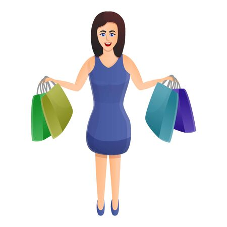 Smiling woman after shopping icon. Cartoon of smiling woman after shopping vector icon for web design isolated on white background