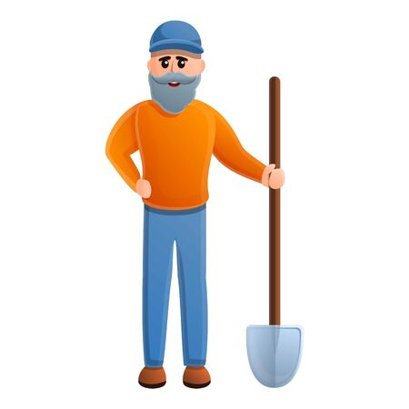Senior man with shovel icon. Cartoon of senior man with shovel vector icon for web design isolated on white background Illustration