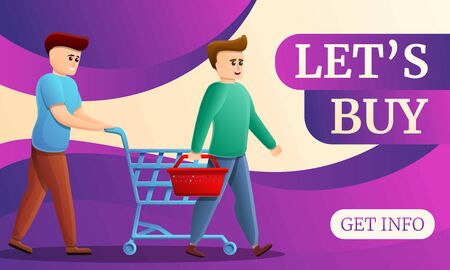 Lets buy concept banner. Cartoon illustration of lets buy vector concept banner for web design 일러스트