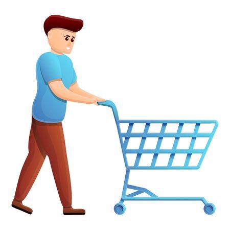 Boy shopping cart icon. Cartoon of boy shopping cart vector icon for web design isolated on white background Illustration