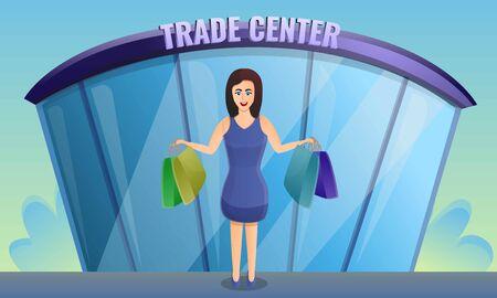 Shop trade center concept banner. Cartoon illustration of shop trade center vector concept banner for web design