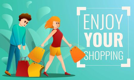 Enjoy your shopping concept banner. Cartoon illustration of enjoy your shopping vector concept banner for web design  イラスト・ベクター素材