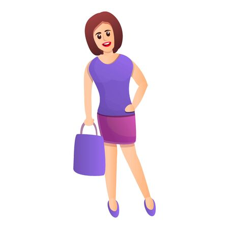 Woman shopper icon. Cartoon of woman shopper vector icon for web design isolated on white background