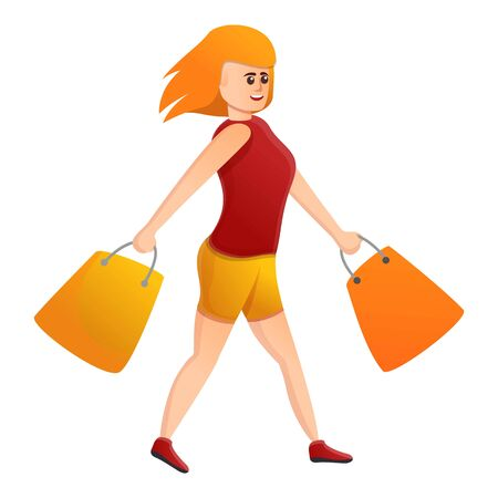 Red hair shopping woman icon. Cartoon of red hair shopping woman vector icon for web design isolated on white background Illusztráció