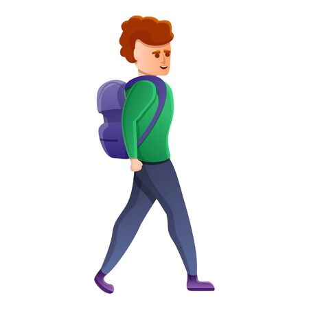 Boy walking backpack icon. Cartoon of boy walking backpack vector icon for web design isolated on white background