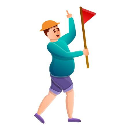 Tourist with red flag icon. Cartoon of tourist with red flag vector icon for web design isolated on white background