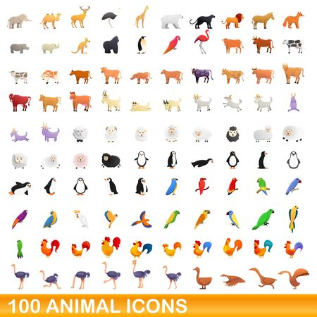 100 animal icons set. Cartoon illustration of 100 animal icons vector set isolated on white background Ilustração