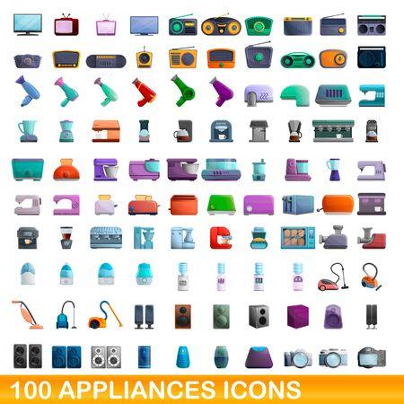 100 appliances icons set. Cartoon illustration of 100 appliances icons vector set isolated on white background Ilustração