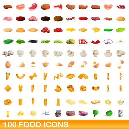 100 food icons set. Cartoon illustration of 100 food icons vector set isolated on white background 向量圖像