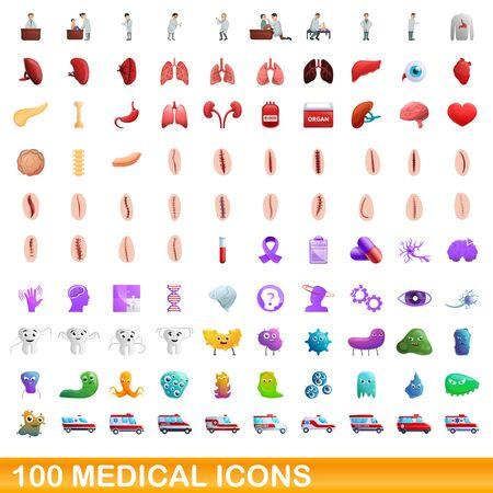 100 medical icons set. Cartoon illustration of 100 medical icons vector set isolated on white background Stock Illustratie