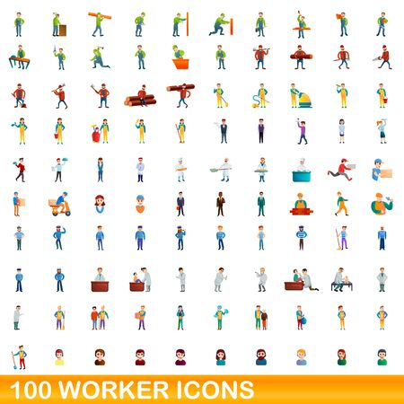 100 worker icons set. Cartoon illustration of 100 worker icons vector set isolated on white background