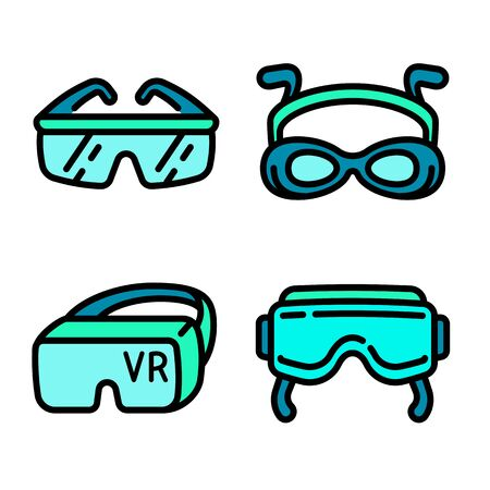 Goggles icons set. Outline set of goggles vector icons for web design isolated on white background Illusztráció