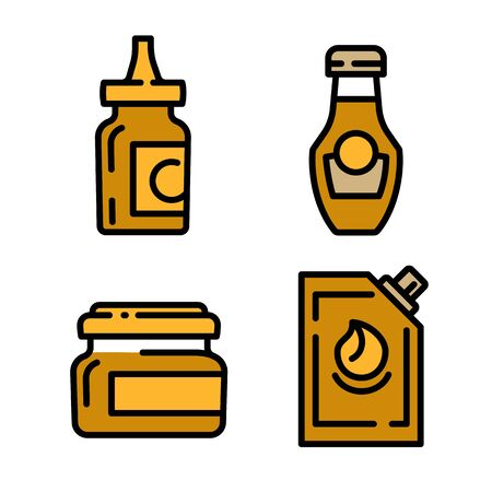 Mustard icons set. Outline set of mustard vector icons for web design isolated on white background Illustration