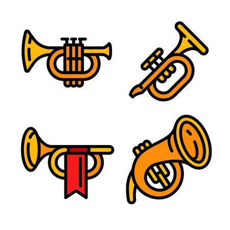 Trumpet icons set. Outline set of trumpet vector icons for web design isolated on white background Archivio Fotografico - 133638989