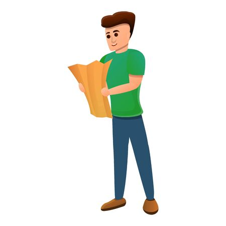 Boy map excursion icon. Cartoon of boy map excursion vector icon for web design isolated on white background Иллюстрация
