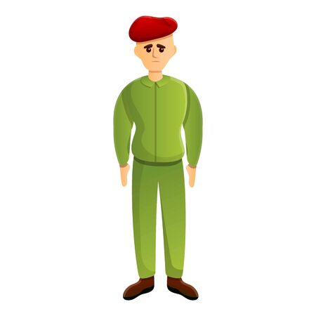 Soldier red beret icon. Cartoon of soldier red beret vector icon for web design isolated on white background