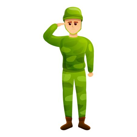Army soldier icon. Cartoon of army soldier vector icon for web design isolated on white background Ilustração