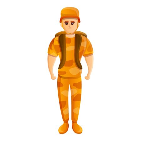 Soldier desert uniform icon. Cartoon of soldier desert uniform vector icon for web design isolated on white background Ilustração