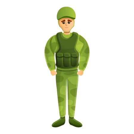 American soldier icon. Cartoon of american soldier vector icon for web design isolated on white background