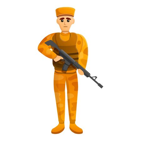 Combat desert soldier icon. Cartoon of combat desert soldier vector icon for web design isolated on white background Ilustração