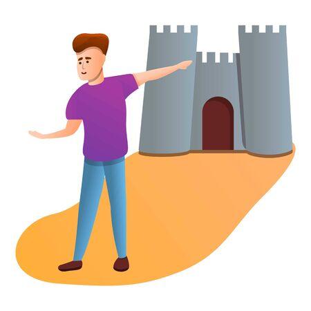 Boy show tourist castle icon. Cartoon of boy show tourist castle vector icon for web design isolated on white background Foto de archivo - 133639062
