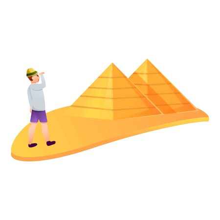 Tourist visit pyramids icon. Cartoon of tourist visit pyramids vector icon for web design isolated on white background