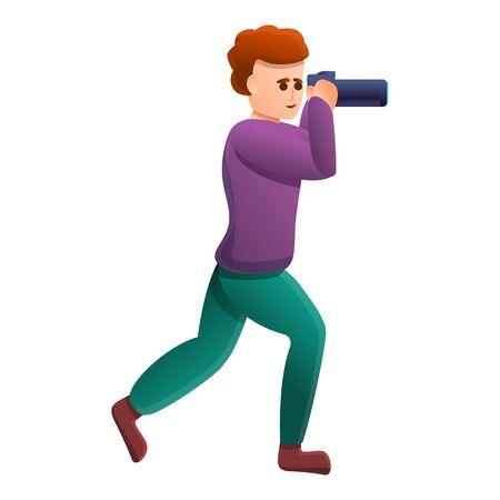 Tourist take photo icon. Cartoon of tourist take photo vector icon for web design isolated on white background Ilustrace