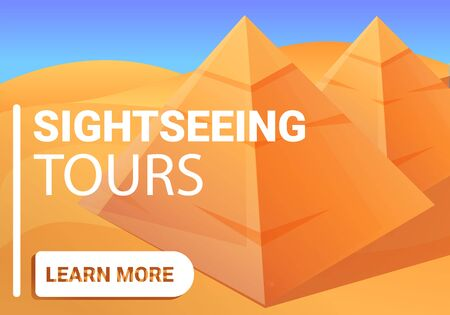 Sightseeing pyramid tours concept banner. Cartoon illustration of sightseeing pyramid tours vector concept banner for web design