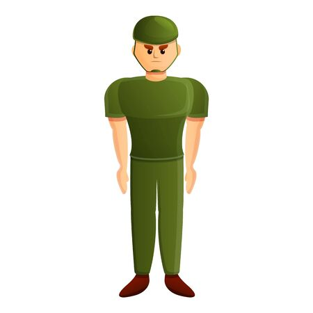 Serious soldier icon. Cartoon of serious soldier vector icon for web design isolated on white background Ilustração